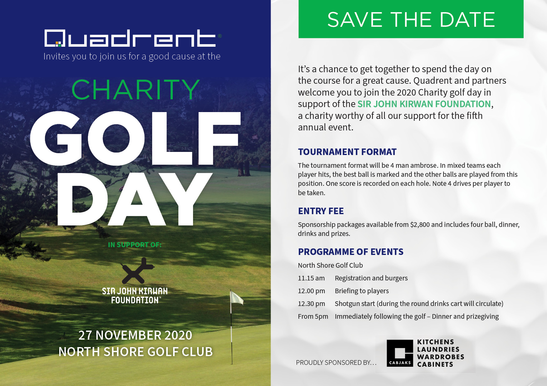 Quadrent charity golf day - Save the date 27th Nov 2020