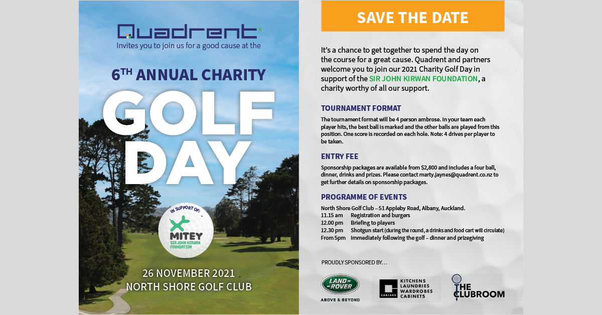 Be a Sponsor of Quadrent's 2021 Charity Golf Day