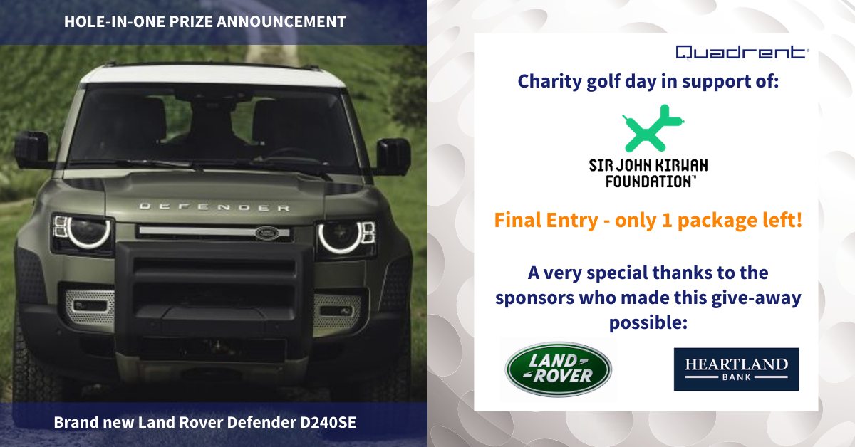 Quadrent charity golf day - Win a Landrover Defender, and only one spot left!